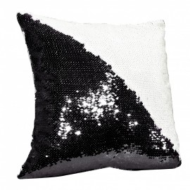 Sequin Cushion Cover - Black/White
