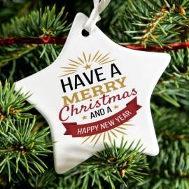 Ceramic Star Shaped Christmas Tree Decoration