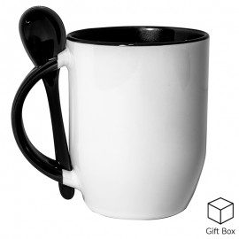 Black Two Tone Sublimation Mug with Spoon