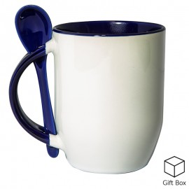 Blue Two Tone Sublimation Mug with Spoon