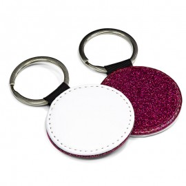 PU Leather Keyring - round rose red