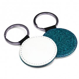 PU Leather Keyring - round blue