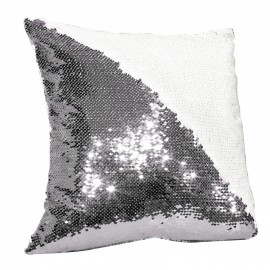 Sequin Cushion Cover - Silver/White
