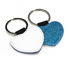 PU Leather Keyring - blue heart