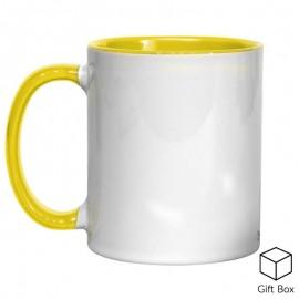 11oz Yellow Inner & Handle Sublimation Mug