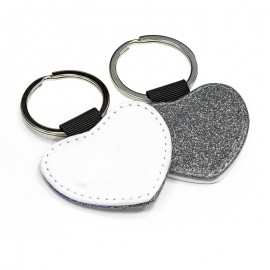 PU Leather Keyring - silver heart