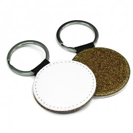 PU Leather Keyring - round gold