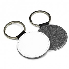 PU Leather Keyring  - round silver