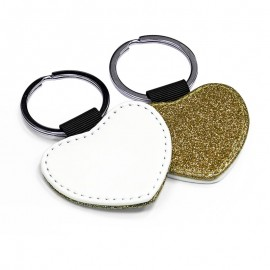 PU Leather Keyring - gold heart