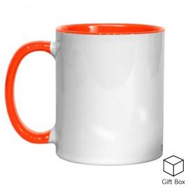 11oz Orange Inner & Handle Sublimation Mug