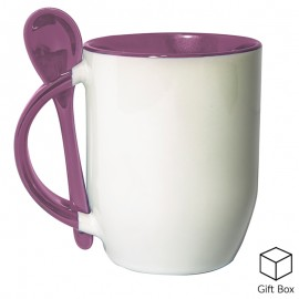 Pink Two Tone Sublimation Mug with Spoon
