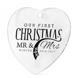 Acrylic Christmas Decorations - Heart Shape
