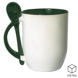 Green Two Tone Sublimation Mug with Spoon